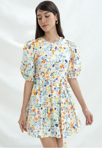 Pomelo multi Sustainable Cotton Floral Tiered Dress - Print 305F6AA444F3FFGS_1
