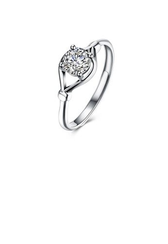 Glamorousky white 925 Sterling Silver Fashion Simple Hollow Geometric Adjustable Ring with Cubic Zircon 5A7A4AC5A19708GS_1