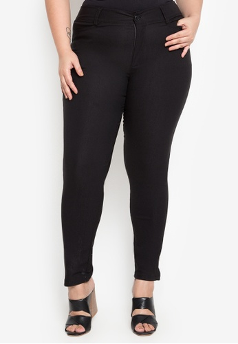 D Fashion Engineer black Wear-to-Work Stretch Pants Plus Size C48D4AA6D9DF07GS_1