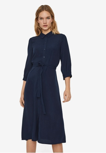 Vero Moda navy Cara Calf Shirt Dress C55A3AA6587357GS_1