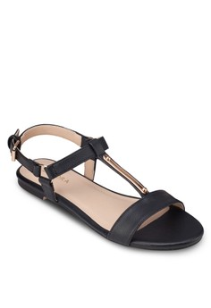 T-Strap Flat Sandals With Metal Trimming