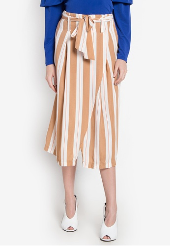 Chloe Edit brown Stripe Skirt With Belt CH672AA0KI5QPH_1