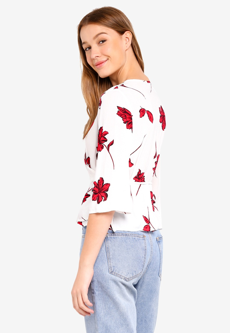 1ebfe4537afc1 ... Peplum Red Tango Wrap Ruth Blouse Floral Lily On Cotton wUFBZ ...