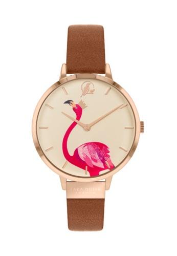 Sara Miller Sara Miller London Womens 34mm Flamingo - Gold/Tan Leather Strap (SA2078) 772A8ACE19C3D6GS_1