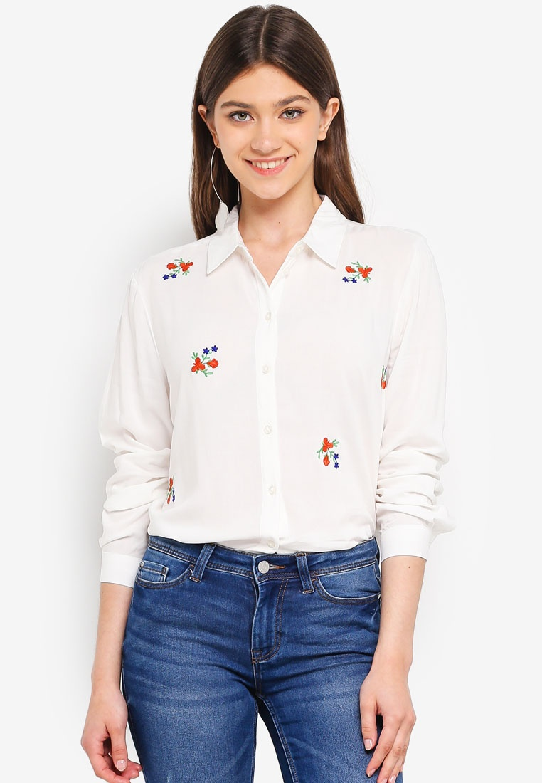 Shirt Embroidery JACQUELINE Cloud YONG L S Dancer DE Fannie Flower Embroidered qYHqUw