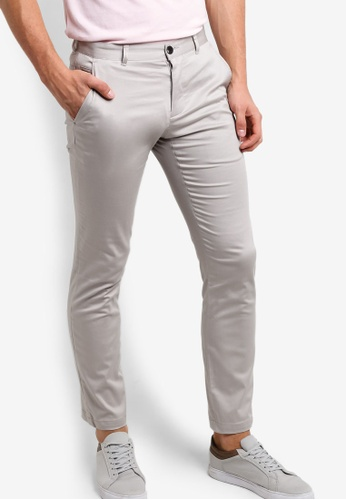Burton Menswear London grey Skinny Light Stone Sateen Trousers BU964AA92OFRMY_1