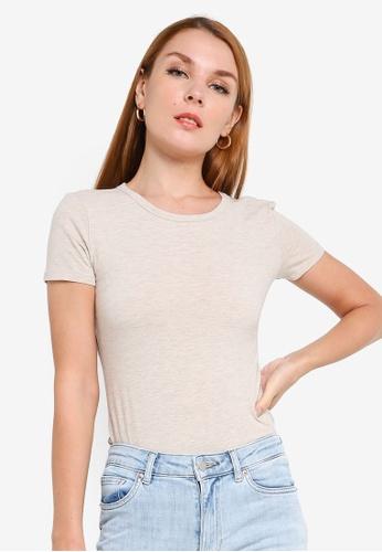 H&M beige Melange Jersey T-shirt 9907FAA9141CD1GS_1