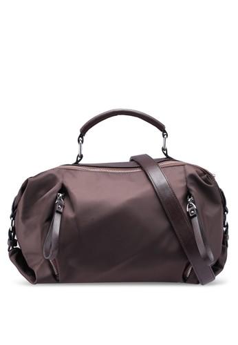 NUVEAU brown PU-Trimmed Nylon Convertible Boston Bag AF84FAC942DC8BGS_1