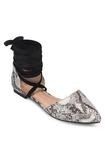 纏繞式繞踝蛇esprit outlet 台灣紋平底鞋, 女鞋, 鞋