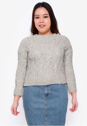 Violeta by MANGO grey Plus Size Cable-Knit Sweater 71AADAA85E8F62GS_1