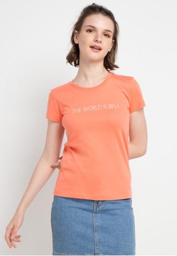 Giordano orange Message T-Shirt 4FB53AAF4F1288GS_1