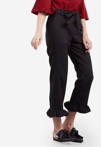 Berrybenka black Rianti Ruffle Pants C7432AA1D9D282GS_1