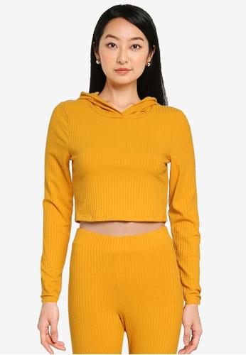 Noisy May yellow Livia Long Sleeves Cropped Hoodie 06E44AA8997AD9GS_1