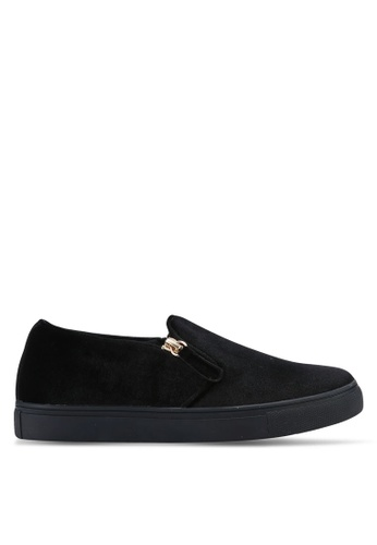ZALORA black Velvet Slip Ons with Zipper Decoration E0984SH2FD1BDAGS_1