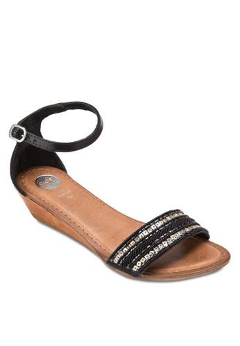 Vianges 閃飾寬帶涼鞋esprit手錶專櫃, 女鞋, 鞋