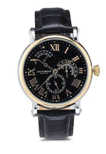 Akribos XXIV black Date Black Leather Watch 4F83BACB23A0F5GS_1