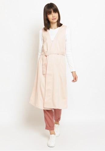 Osella pink Osella Baju Perempuan Cardigan Sleeveless Dusty Pink DC425AA5C4409BGS_1