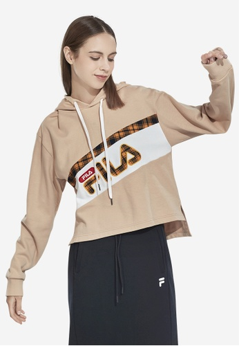 FILA beige Korea Collection Cropped Colour Block Hoodie 45308AAAE009F2GS_1
