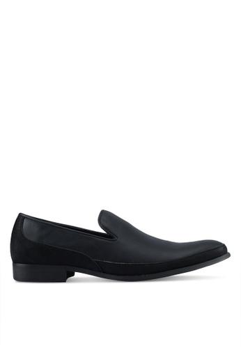 ZALORA black Faux Suede Mix Material Slip On Dress Shoes A692ASH9AD2F5DGS_1
