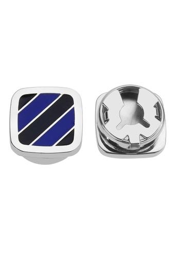 CUFF IT blue Blue Tone Diagonal Stripe Button Cover Cufflinks 9440FACD5EBC06GS_1