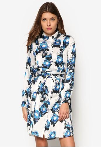 Vorley 玫瑰印花襯衫連身裙, 服飾, 夏日洋esprit 眼鏡裝