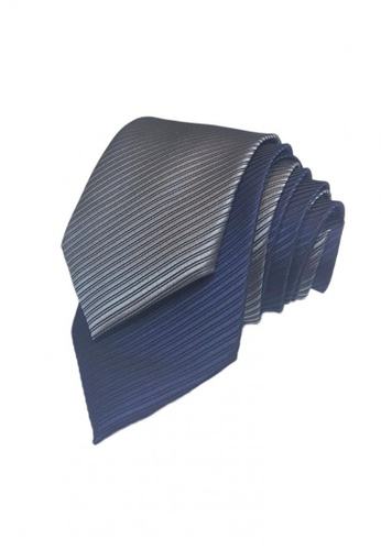 Well Suited grey and blue Two Piece Solid Stripe Necktie Combo6 5A376ACF4C8E17GS_1