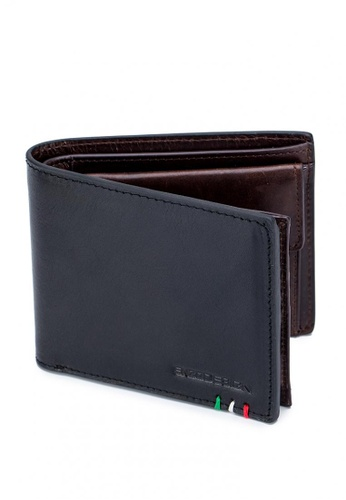 ENZODESIGN black Italian Leather Wallet With Coin Pocket And Snap Compartment 1017AACCBA44A5GS_1