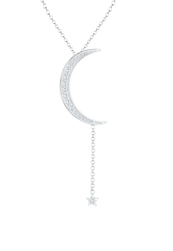 Elli Germany white and silver Elli Germany Necklace Crescent Y-Shape Swarovski® Crystals 925 Silver EL474AC90OJPMY_1