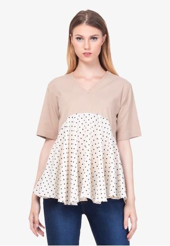 Cleody brown Vio Top - Mocca-Cream - Atasan Wanita - Blouse - Cleody Indonesia C5F99AADDFEB5AGS_1
