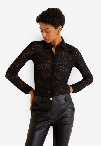 Mango black Guipure Shirt D9237AACC7CD8AGS_1