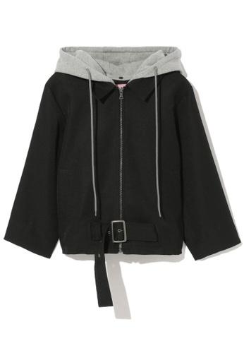 b+ab black Buckled zip through jacket 7525FAAF85CB79GS_1