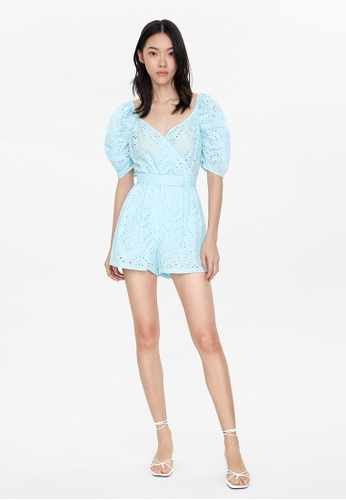 Pomelo blue High Waisted Eyelet Shorts - Blue 82195AA0ADFC9CGS_1