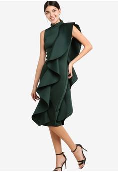111416889cac 40% OFF Lavish Alice Asmetric Draped Frill Midi Dress In Scuba S  130.90  NOW S  77.90 Sizes 6 8 10