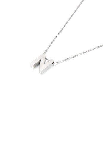 Glamorousky silver Simple Temperament English Alphabet N 316L Stainless Steel Pendant with Necklace C9DA4AC52231E6GS_1