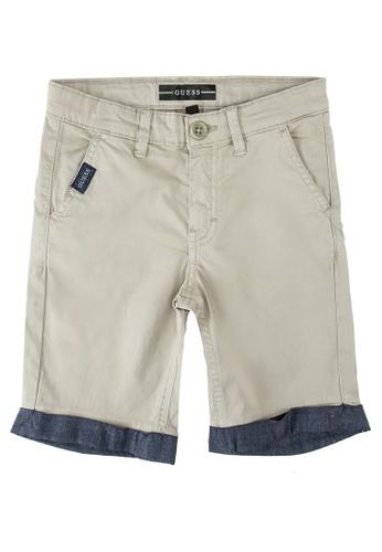 GUESS white Satin Chino Shorts DBF79KA6DA27DCGS_1