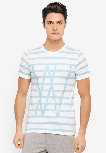 ZALORA green and multi Typographic Striped Tee CFBB9AA5A186A5GS_1