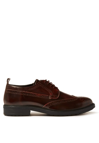 Topman red Burgundy Leather Baron Brogues 753ABSH32AB3A0GS_1