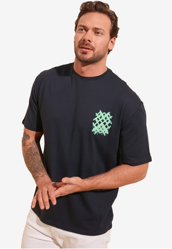 Trendyol navy Printed T-Shirt 2CA6CAA3A4EEAFGS_1