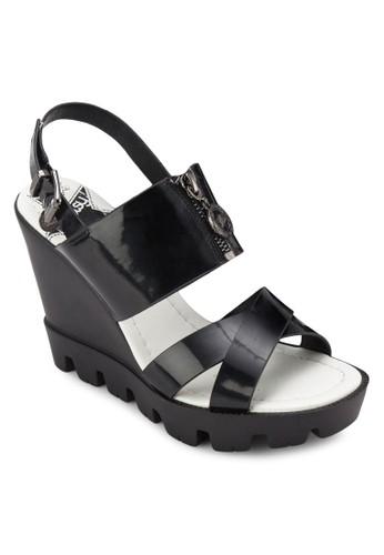 交叉帶拉鍊楔形涼esprit 香港鞋, 女鞋, 鞋