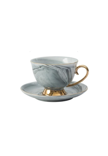 DILAS HOME Gold Pedestal Coffee Tea Cup and Saucer (Marbled grey) A0567HLCF5F36FGS_1