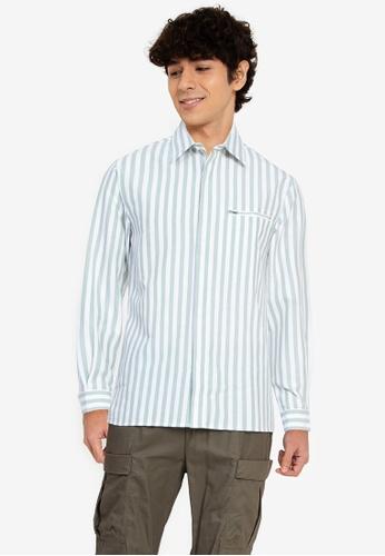 ZALORA BASICS multi Stripe Zip Pocket Shirt 7245CAA4AC4A82GS_1