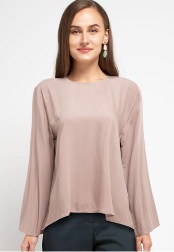 Zumara brown Woman Basic Long Sleeve Rayon Blouse 429C9AA5EE38FDGS_1
