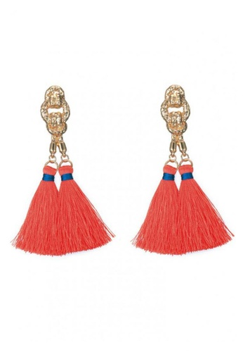 LOVENGIFTS pink Hammered Gold Knot Tassel Drop Earrings (Coral) 5ACE0AC381713AGS_1