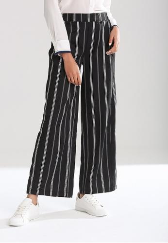 London Rag black Elastic Waist Wide leg Striped Pants 5E3D5AAC29E648GS_1