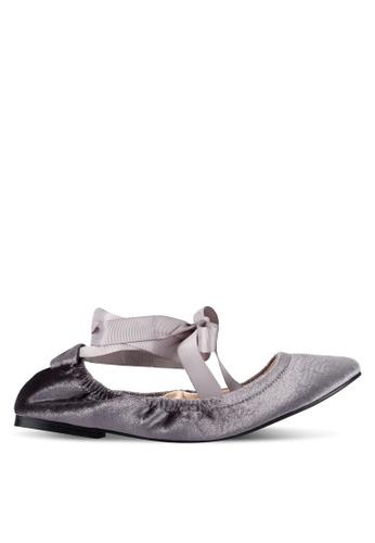 ZALORA grey Velvet Lace Up Ballet Flats 608E3ZZ13D676AGS_1