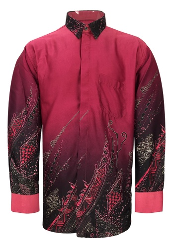 Pacolino red Pacolino - Long Sleeve Navy Blue Color Printed Batik Shirt 749EFAA67ED50EGS_1