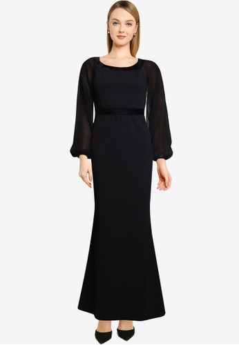 Quiz black Sheer Long Sleeves Maxi Dress 739E2AA1E2577EGS_1