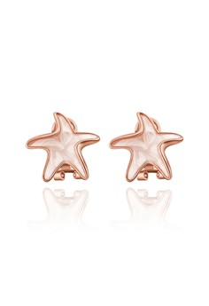 18k Rose Gold Plated Starfish Clip Earrings