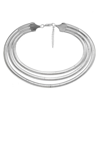Red's Revenge white Metal Coils Collar Necklace RE144AC0SJ3TMY_1