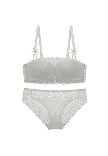 LYCKA white LMM4003-Lady Sexy Lace Lingerie Sleepwear Two Pieces Set-White F6D5BUS7DE32ADGS_1